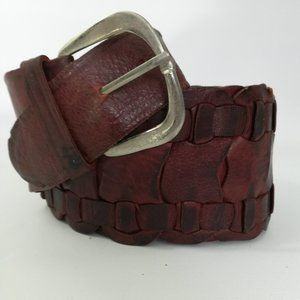 Vintage Wide Woven Brown Leather Belt Distressed